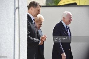 Latvian President Raimonds Vejonis, Lithuanian President Dalia Grybauskaite, US Senator John McCain, inauguration of NATO Stratcom, Riga, August 20, 2015