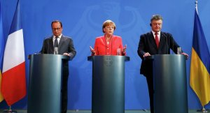 Francois Hollande, Angela Merkel, Petro Poroshenko