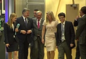 Juncker receives Poroshenko in Brussels, August 2015 (--Ruptly)