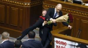 Yatsenyuk gets carried away, Verkhovna Rada, 12-11-15 (--RT/Reuters/Valentyn Ogirenko)
