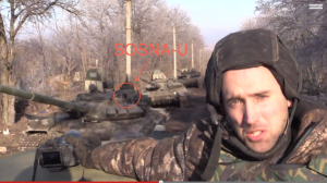 """Graham Phillips with alleged """"Russian"""" tank"""