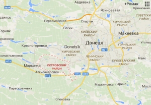 Petrovsky District (red), Donetsk (right center)