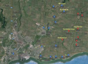 Enemy map shows Vodyanoye in DPR, Dec 13, 2015
