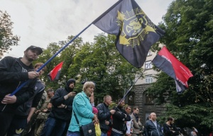 Right Sector party and ultra-right activists attend rally at Presidential office in Kiev, July 11, 2015 (--EPA/Sergey Dolzhenko)