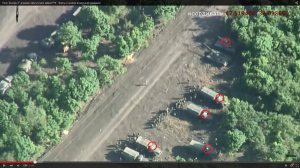 Still from video: UAF trucks