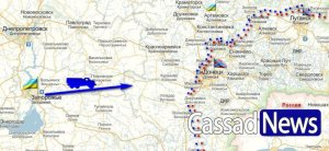 Krasnagorovka (not shown) lies a quarter of the way from Donetsk to arrow tip.