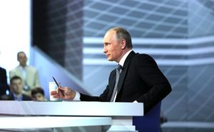 Vladimir Putin answering questions from Russian citizens at annual Q&A April 14, 2016. (--Russian government)