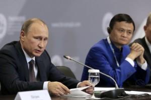 Vladimir Putin, Alibaba boss Jack Ma, SPIEF 2015 (--english.sina.com)