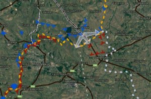 Today's map of hostilities. Debaltsevo below and right of center. (--SouthFront)