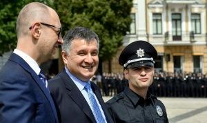 Ukraine PM Arseniy Yatsenyuk, Ukrainian Interior Minister Arsen Avakov (C), Head of patrol police of Kuiv Oleksandr Fatsevych (--Kyiv Post)