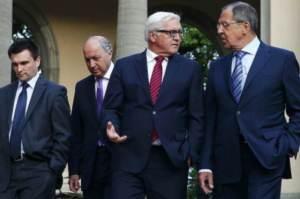 Normandy Four foreign ministers Pavlo Klimkin (Ukraine), Laurent Fabius (France), Frank-Walter Steinmeier (Germany), Sergei Lavrov (Russia) (--Novorossia Today)