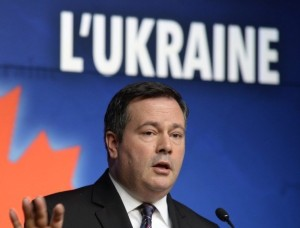 Canadian Defence Minister, Jason Kenney, announcing that Canadian troops will be sent to Ukraine. (--Adrian Wyld, The Canadian Press)