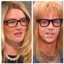 US State Department spokesperson Marie Harf, successor to Jen Psaki, and her fanciful double from Wayne's World (--dailycaller.com)