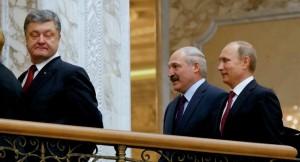 Petro Poroshenko, Balarus President Alexander Lukashenko, and Vladimir Putin at Minsk (--AP/Sergei Grits)