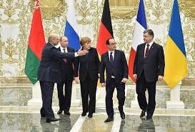 Normandy Four in Minsk: Putin (second from left), Merkel, Hollande, Poroshenko
