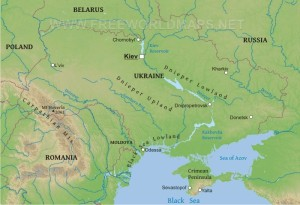The Dnieper River roughly divides Ukraine east and west. (--Google Maps)