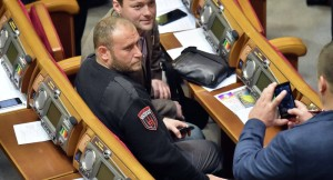 Dmitry Yarosh poses for picture at  Rada session, November 2014(--AFP, Sergei Supinsky)