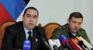 LPR/DPR Prime Ministers Igor Plotnitsky and Alexander Zakharchenko (--Sputnik)