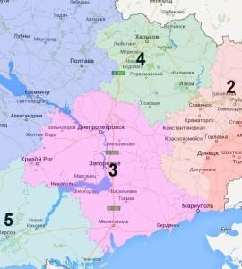 Dnipropetrovsk, Zaporizhia, and Kharkov regions.