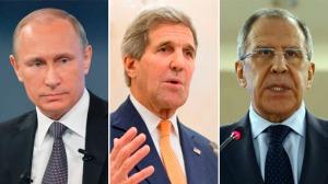 Vladimir Putin, John Kerry, Sergei Lavrov