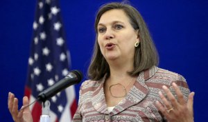 U.S. Assistant Secretary of State Victoria Nuland attending a news conference after talks in Moscow on Monday  (--Moscow Times/Sergei Karpukhin)