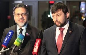 LPR & DPR Contact Group envoys Vladislav Deinego and Denis Pushilin (--© Ramil Nasibulin/BelTa/TASS)