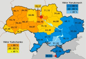 2004 election: Yanukovich regions in blue (--Deepresource.wordpress.com)