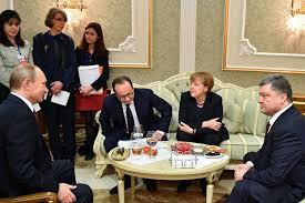 Vladimir Putin, Francois Hollande, Angela Merkel, Petro Poroshenko, Minsk, February 2015 (--thebricspost.com)