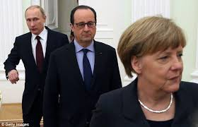 Vladimir Putin, Francois Hollande, and Angela Merkel (--the Daily Mail0