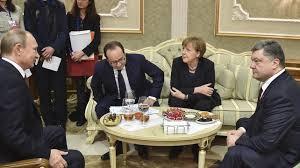 Vladimir Putin, Francois Hollande, Angela Merkel, Petro Poroshenko, Minsk, February 2015 (--rte.ie)