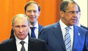 Vladimir Putin, Russian Energy Minister Alexander Novak, Foreign Minister Sergei Lavrov, Feb 2015 (--syrianfreepress)