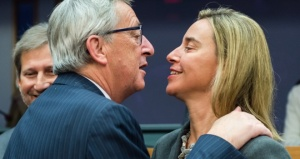 Jean Claude Juncker with Federica Mogherini, High Representative of the Union for Foreign Affairs and Security Policy for the EU and top executive of the External Action Service. (--uatoday.tv)