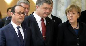Francois Hollande, Petro Poroshenko, Angela Merkel, Minsk, February 2015 (--Sputnik)