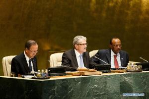 UN General Assembly opens 70th session Mogens Lykketoft(C), President of the 70th session of the General Assembly. (--news.xinhuanet.com)