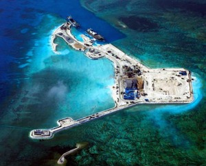 China builds artificial island, Gaven Reefs, Spratly Islands, South China Sea (--http://ajw.asahi.com)