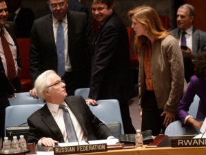 Vitaly Churkin, Samantha Power (--AFP/Emmanuel Dunand/Getty Images)