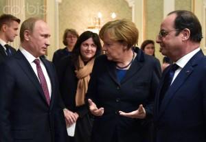 Vladimir Putin, Angela Merkel, Francois Hollande; Minsk, Balarus, February 11, 2015 (--Lazarenko Mykola/TASS/Corbis)