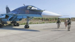 Russian Su-34 at Latakia air base in Syria. (--Russian MoD)