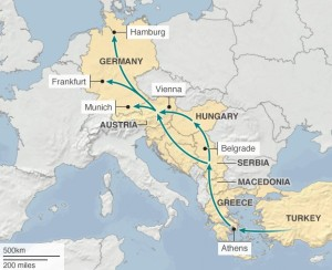 Migrant route to Europe (-bbc.com)