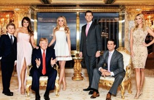 Son Barron, wife Melania, Donald Trump, daughter Tiffany, sons Eric and Donald Jr. daughter Ivanka.