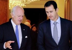 Staffan de Mistura, Bashar Assad (--tasnimnews.com)