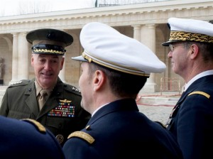 Joseph F. Dunford Jr., left, meets French military leaders, Paris, Jan. 22, 2016. (--DoD/D. Myles Cullen)