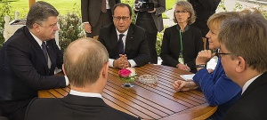 Poroshenko, Putin (back), Hollande, Merkel (right), Normandy Four meeting, Paris, October 2015