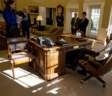 Barack Obama, Joe Biden, wth advisers in the Oval Office, Feb. 2, 2016. (--White House)