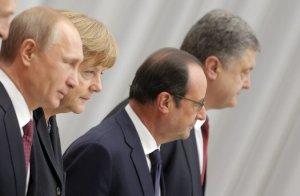 Putin, Merkel, Hollande, Porkoshenko, Minsk, February 2015 (--NY TImes)
