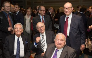 Trilateral Commission Members Pete Peterson, Paul Volker, David Rockefeller, Alan Greenspan (--technocracy.news)
