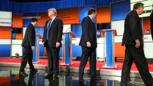 Marco Rubio, Donald Trump, Ted Cruz, John Kasich take stage at Fox GOP Debate, Detroit, March 3, 2016