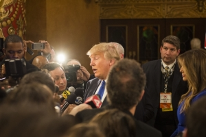 Donald Trump answers questions from the media after Fox News Republican debate, Detroit, March 3, 2016. (--Matt Vailliencourt/Michigan Daily)