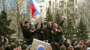 Pavel Gubarev (2nd R) Donetsk, March 2014 (--.itv.com)