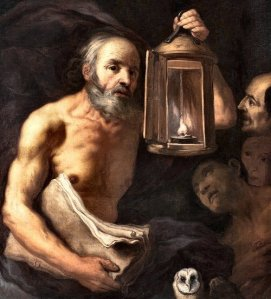 Zanchi: Diogenes with his lamp and an owl - symbol of Pallas Athene (--Beyond the Pale).